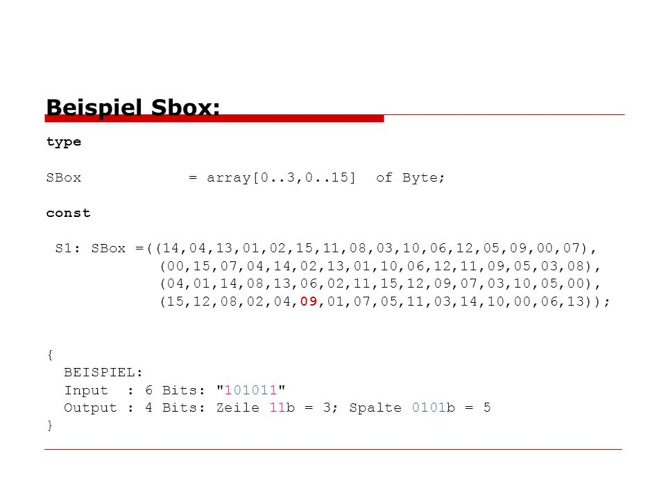 Beispiel Sbox: type SBox = array[0. 3,0